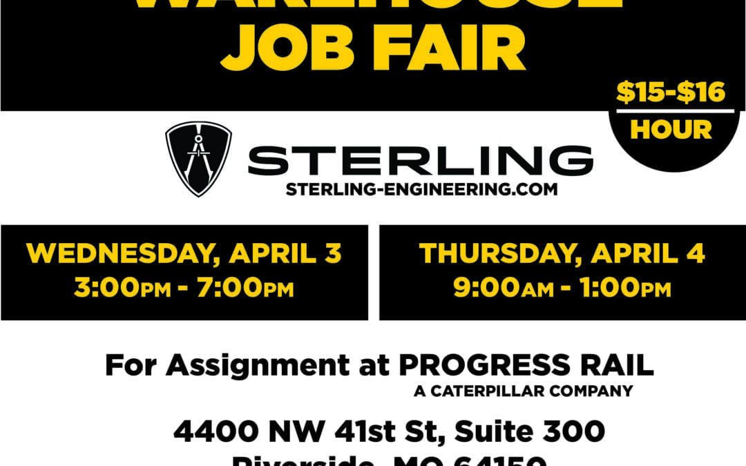 Sterling Job Fair in Riverside, Missouri April 3rd and 4th