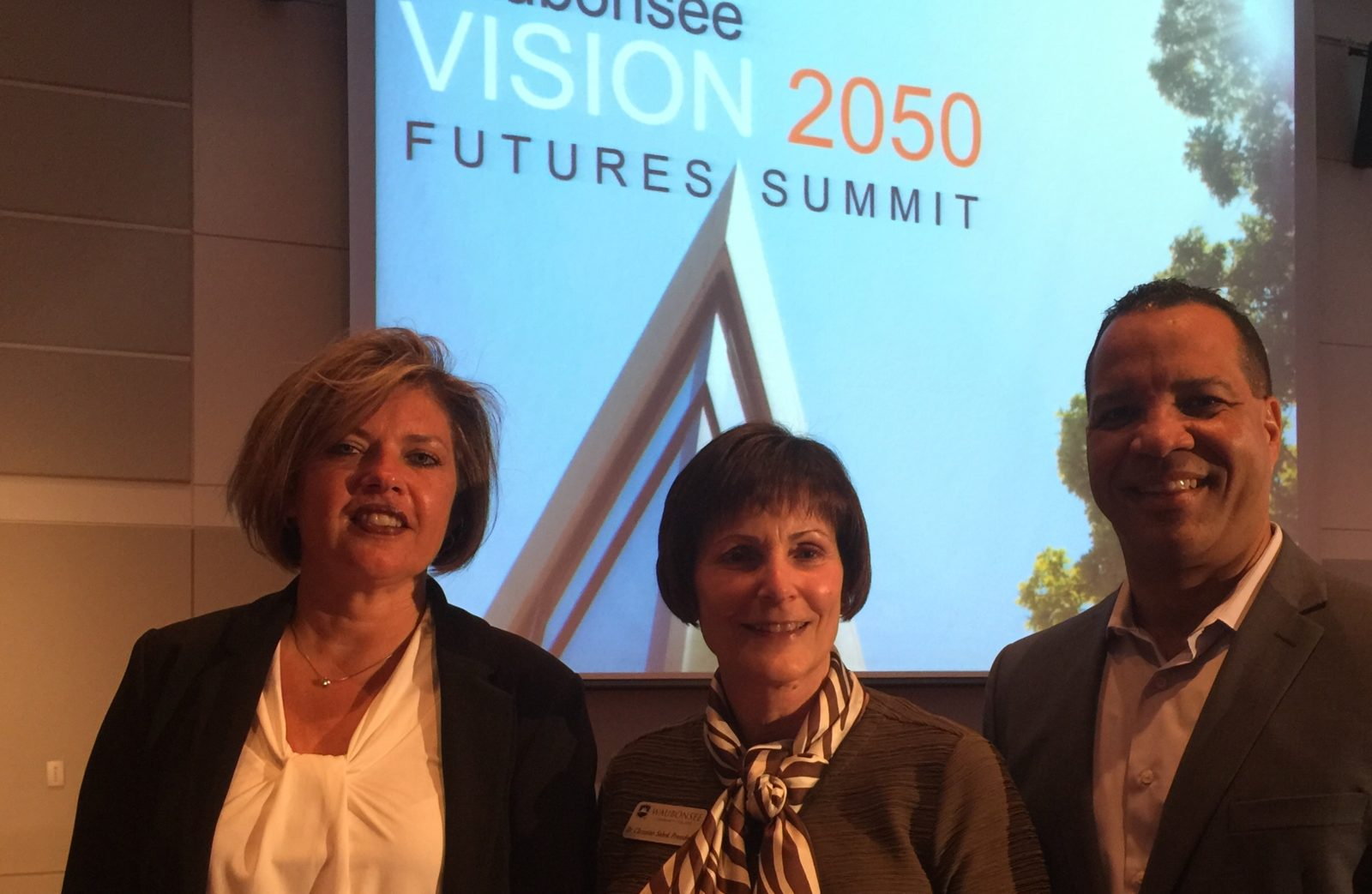 Sterling President Rama Kavaliauskas (left) with President of Waubonsee College, Dr. Christine Sobek, and President of Illinois Math and Science Academy, Dr. José Torres.