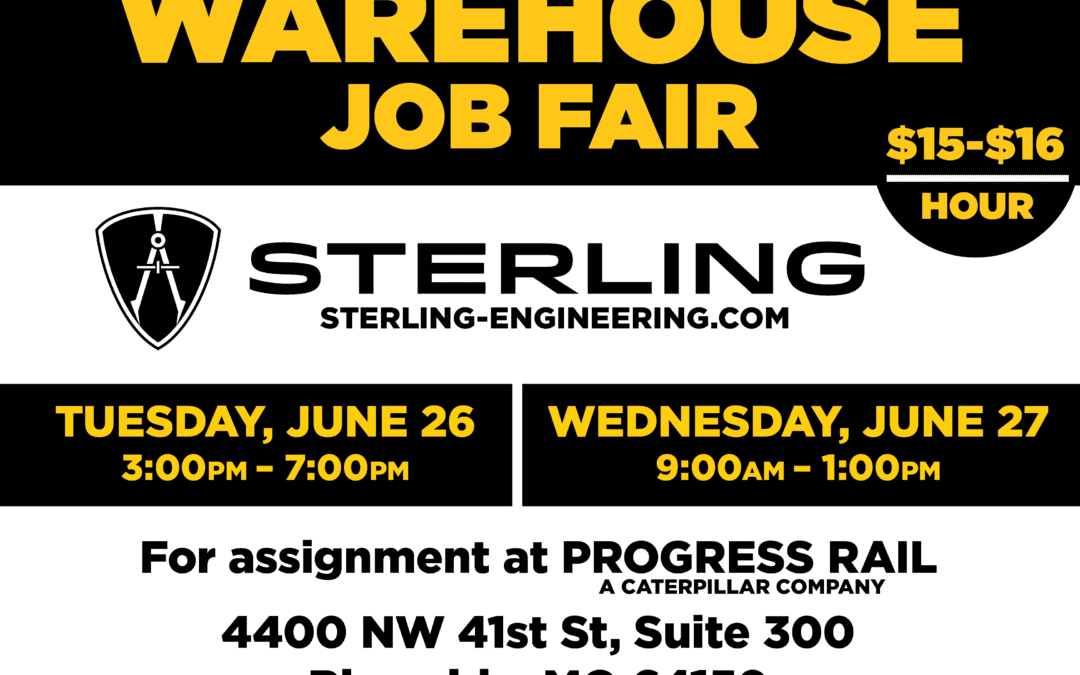 Sterling Job Fair in Riverside, Missouri June 26th and 27th